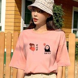 Camiseta coreana de verão, harajuku, desenhos animados, ulzzang, dropshipping, vintage, vegan, punk, top, impressão, rosa, manga curta, feminina