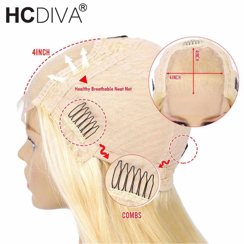 Brazylijska peruka typu lace 4*4 prosto zamknięcie koronki peruka 150% Remy włosów ludzkich peruk 613 blond koronkowa peruka na przód wstępnie oskubane z dzieckiem włosy