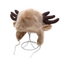 Женские шапки из искусственного лисьего меха, меховые шапки-ушанки с ушками, Рога лося, рождественские шапки для девочек, зимняя шапка-бомбер с ушками