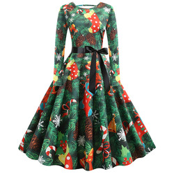 S-5XL Christmas Print Vintage Dress Women Autumn Winter Long Sleeve A-line Midi Party Dress Pin Up 50s 60s Robe Femme Plus Size 1
