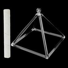 Кварцевый Поющая Пирамида матовый D Note Сакральная чакра для медитации набор 8 ''+ замшевый молоток отличный звук