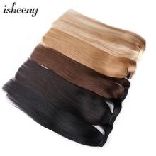 Human-Hair Ponytail Isheeny Hair-Piece Clip-In Natural Black Brown Wrap 14-18-20-24-Blonde