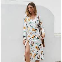 Sexy Split Floral party dresses women High split maxi dress festa female Christmas 2019 long vestidos Long Sleeve Dress
