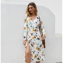 Sexy Split Floral party dresses women High split maxi dress festa female Christmas 2019 long dress vestidos Long Sleeve Dress
