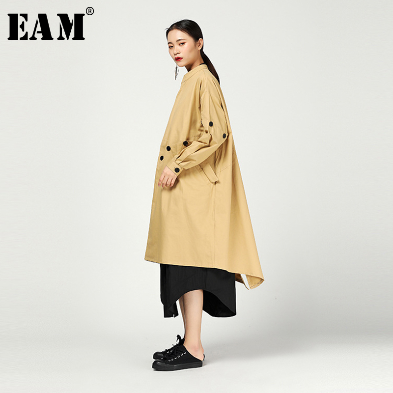 [EAM] Women Button Split Big Size Trench New Stand Collar Long Sleeve Loose Fit Windbreaker Fashion Tide Spring 2020 1N470