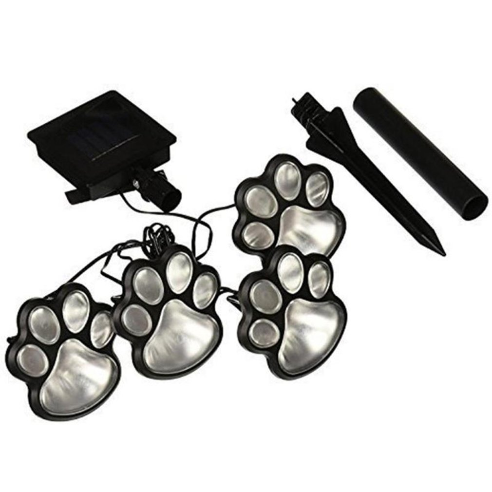 4 Solar Cat Animal Paw Print Lights LED Solar Lamps Garden Outdoors Lantern LED Path Decorative  Lighting  Footprints Lamp