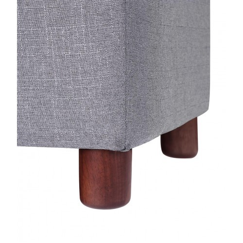 【USA in Stock】39'' Storage Bench Tufted Linen Fabric Ottoman Storage Bench Grey , free dropshipping  out door furniture 5