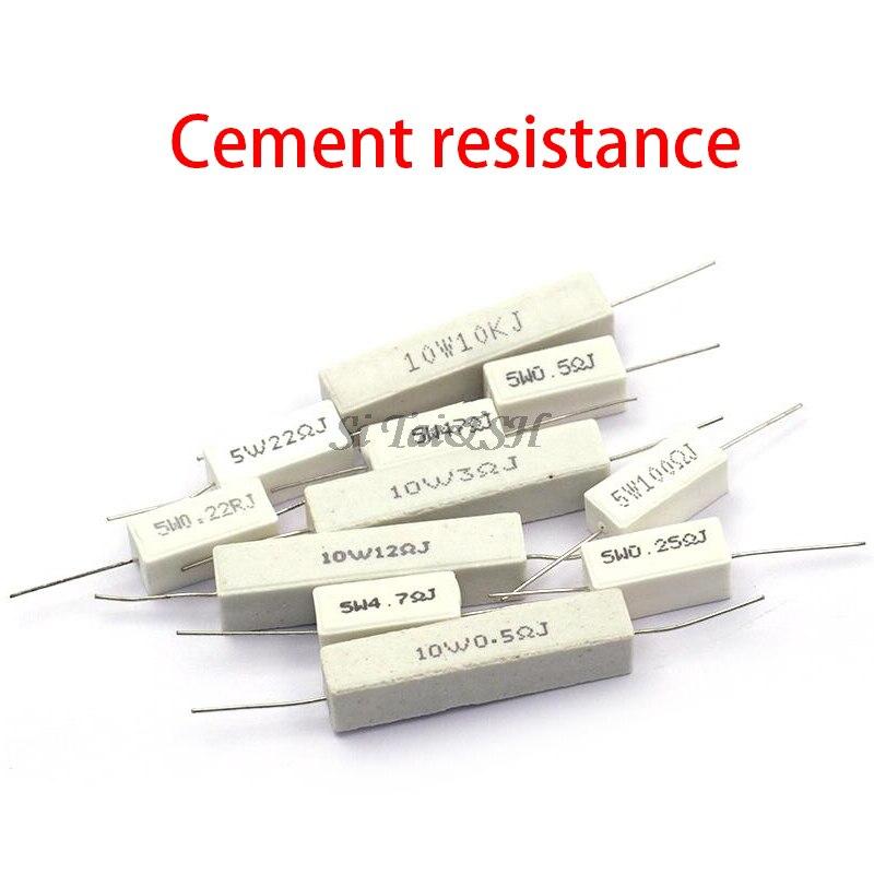 Сопротивление цемента BPR56 5 Вт 10 Вт, 10 шт., 0.1R ~ 10k Ом 0.33R 1R 10R 100R 0,22, 0,33 1 10 100 1K 10K Ом, сопротивление цемента