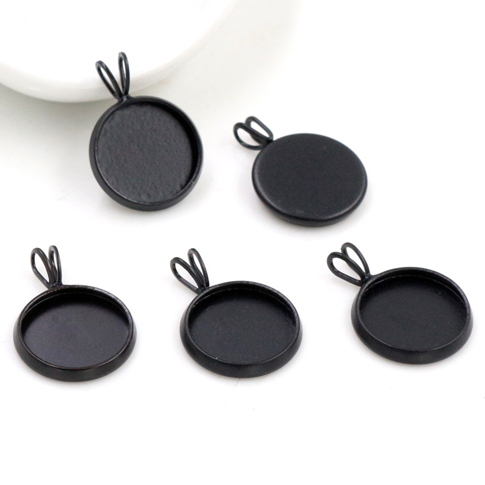 20pcs 12mm Inner Size Black Plated Brass Material Simple Style Cabochon Base Cameo Setting Charms Pendant Tray (A2-42)