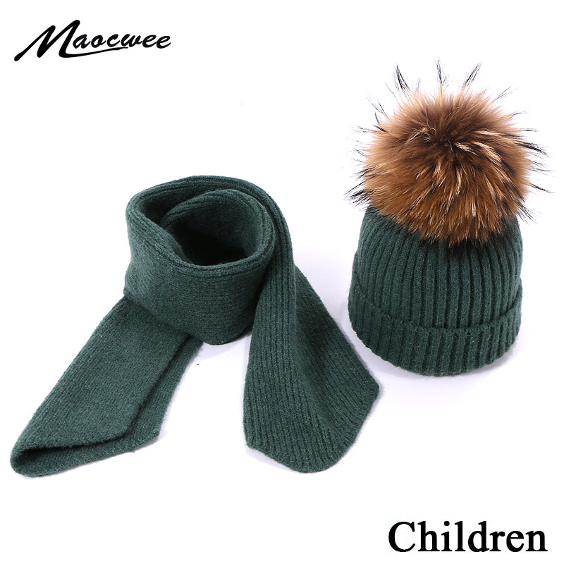 Real Natural Fur Pompom Knitted Hat Scarf Winter Warm Children Hat & Scarf For Girls Boys Two Piece Set Warm Beanie Skullies