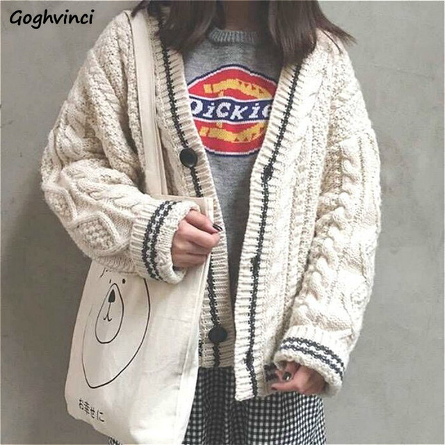 Cardigan Women Spriped Single Breasted Beige Spring Autumn Korean Style  All-match Fashion Comfortable Casual Streetwear Chic 1