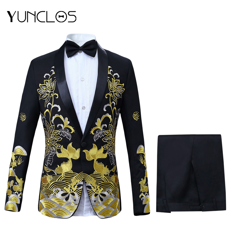 Men's Embroidered Casual Suit  Green Fruit Collar Four Pieces Suit (Jacket + Pant + Waist Seal + Bowtie) For Wedding &Party