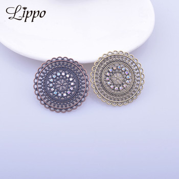 12pcs Zinc Alloy Antique Brass Earring Connector Rhinestone Antique Copper Round Jewlry Pendant Making image