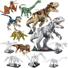 Dragon Velociraptor Stegosaurus Jurassic Dinosaur And Fossil Model Bricks Building Blocks Toys for Children Boy Kids Gifts