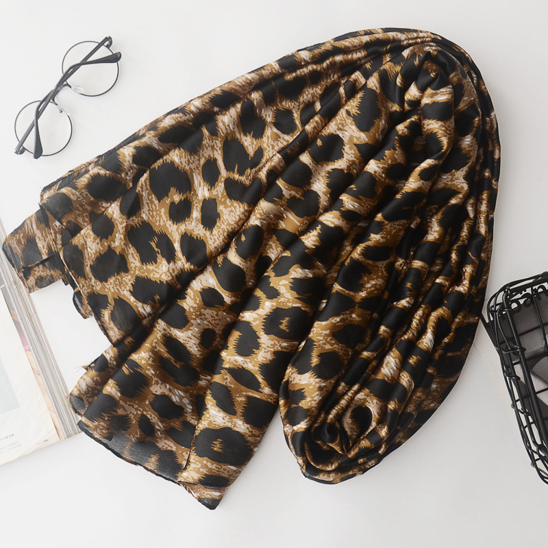 European And American Leopard Print Cotton And Linen Scarf Spring And Autumn Decorative Silk Scarf Tourism Sunscreen Shawl