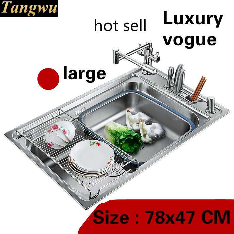 Free Shipping Apartment Vogue Kitchen Single Trough Sink Multifunction Do The Dishes 304 Stainless Steel Big Hot Sell 78x47 CM