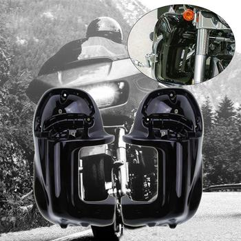 (Ship From Germany)Lower Vented Warmer Leg Fairings Black For Harley Touring Road King Ultra FLTR 1998-2009 Electra Glide FLT