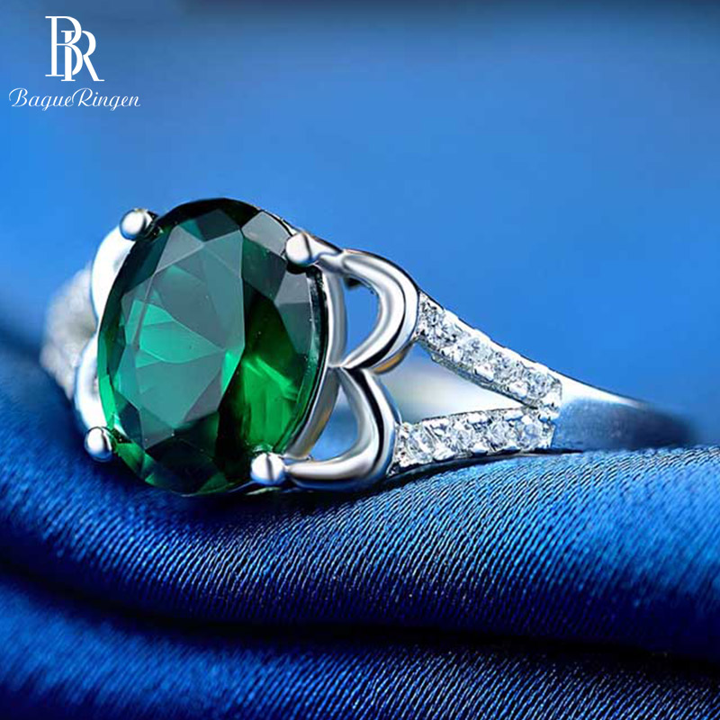 Bague Ringen Luxury Jewelry Real Sterling Silver Ring With 5*7mm  Emerald Gemstone Women New Fashion Wedding Party Ring