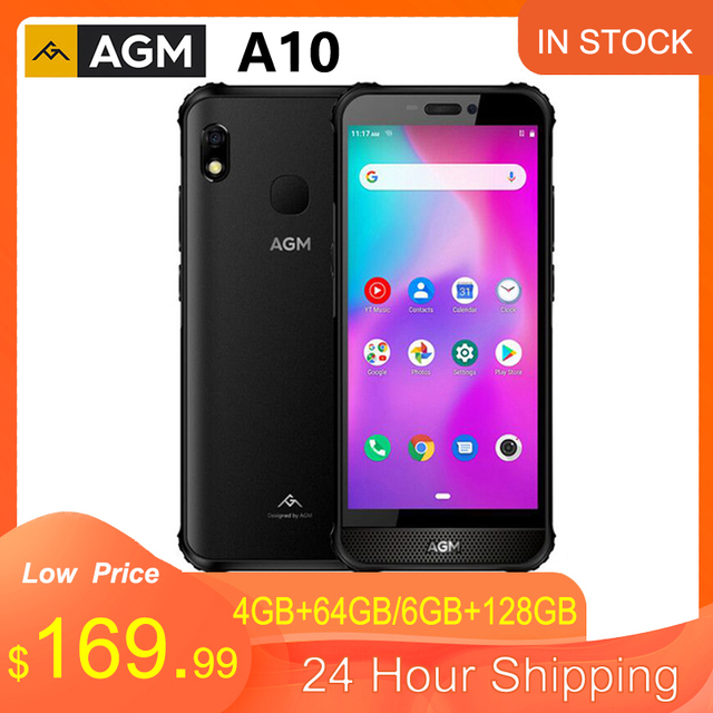 AGM A10 5.7'' HD+ IP68 Waterproof Rugged Phone CellPhone 4/6GB 64/128GB 4400mAh 4G LTE Android 9 Waterproof NFC Mobile Phone