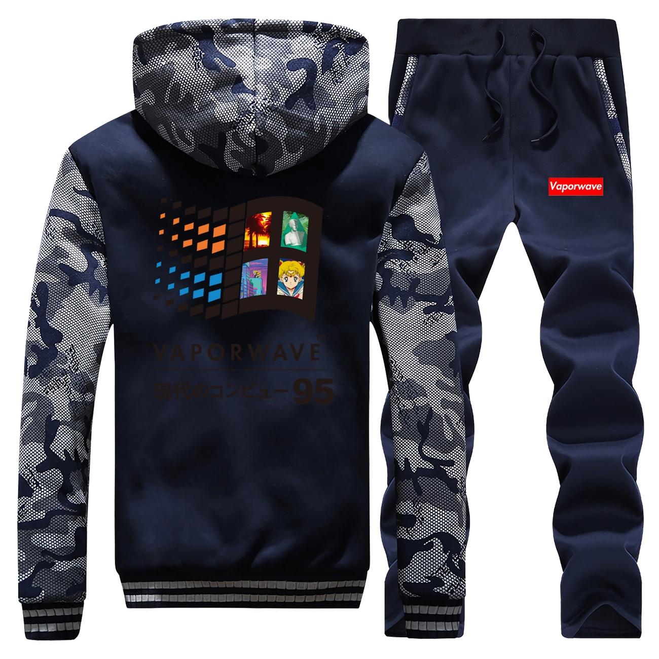 Vaporwave Hoodies Pants Set Men Japanese Anime Aesthetic 80s Tracksuit Coat Track Suit Winter Thicken Fleece Jacket 2 Piece Sets