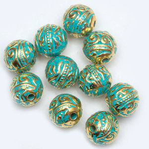 8mm 20 Pcs/lot Vintage Green and Gold Tube Bead Tibetan Silver Spacer Beads for Bracelet Jewelry Making(China)