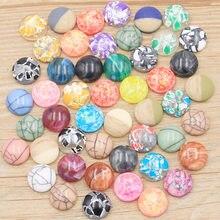 Cabochons en résine pour bracelets et boucles d'oreilles, 40 pièces, 12mm, 6 styles, nouvelle mode, mélange de couleurs, Style minerai naturel, dos plat, accessoires, 2020