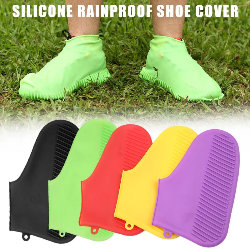 1 Pair Reusable Waterproof Silicone Shoes Cover Rainproof Non-slip Washable Unisex Wear-Resistant Recyclable Rain Boots