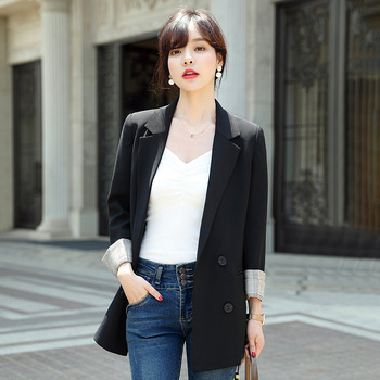 Elegant women's small suit feminine jacket coat 2020 Korean version of the new professional long-sleeved ladies blazer children s wear jacket 2018 winter new girls korean version of the woolen coat in the big virgin baby baby long section shirt
