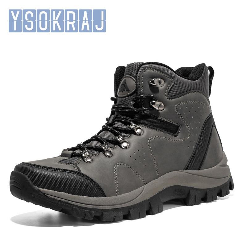 Мужские походные ботинки, водонепроницаемая кожаная обувь, обувь для скалолазания и рыбалки, новая уличная обувь, мужские зимние ботинки с ...