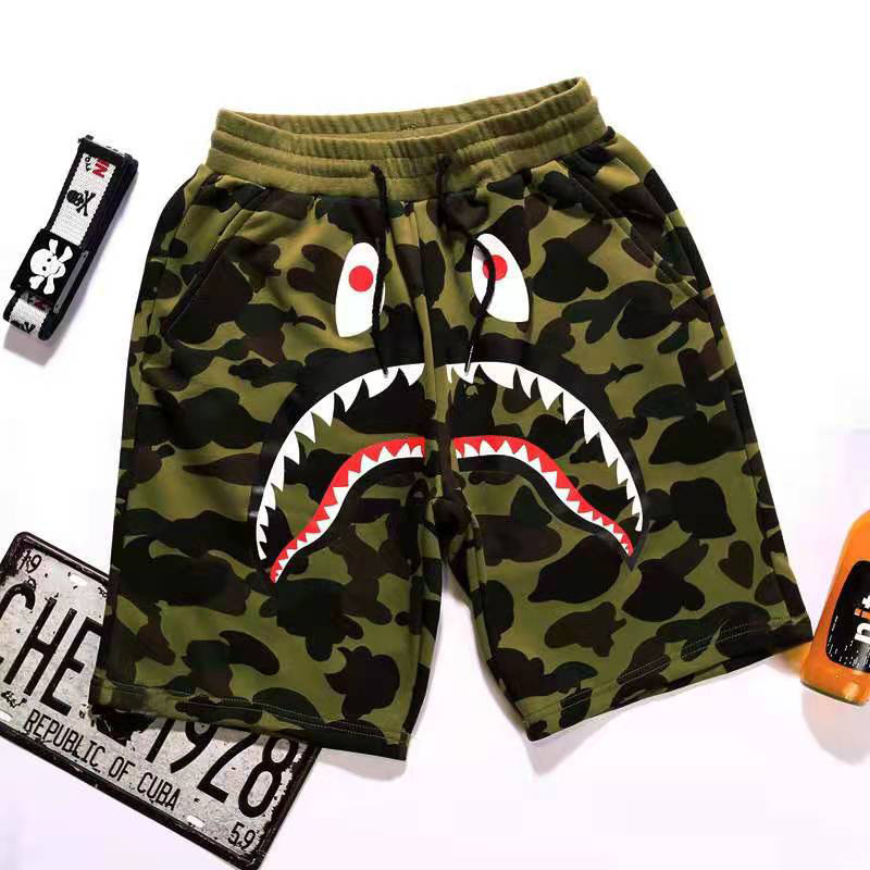 2021 Summer New Beach Pants Men's Japanese Tide Brand Shorts Camouflage Shark Mouth Print Casual Pants