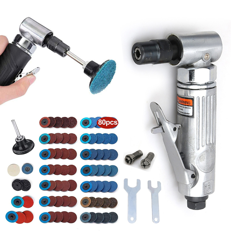 Mini Poratble 1 4 Air Angle Die Grinder 90 Degree Pneumatic Grinding Polisher Mill Engraving Machine with Sanding Discs Tool Kit