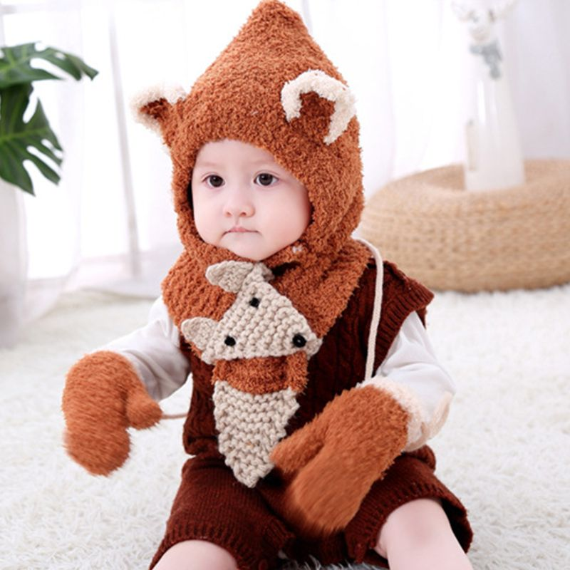 Autumn And Winter Baby Children's Thicken Plush Knit Hat Scarf Gloves Three-piece Suit Cute Cartoon Fox Animal Earflap Hat Winte