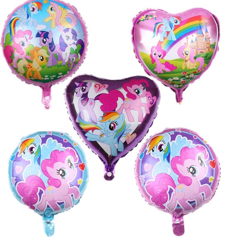 Meu pequeno pônei folha balões com 18 polegada arco-íris número baloon festa de aniversário da menina utensílios de mesa decoração chá de fraldas