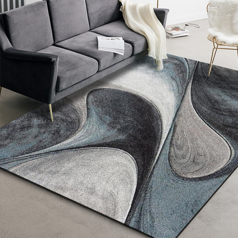 Abstract Blue Gray Geometric Area Rugs