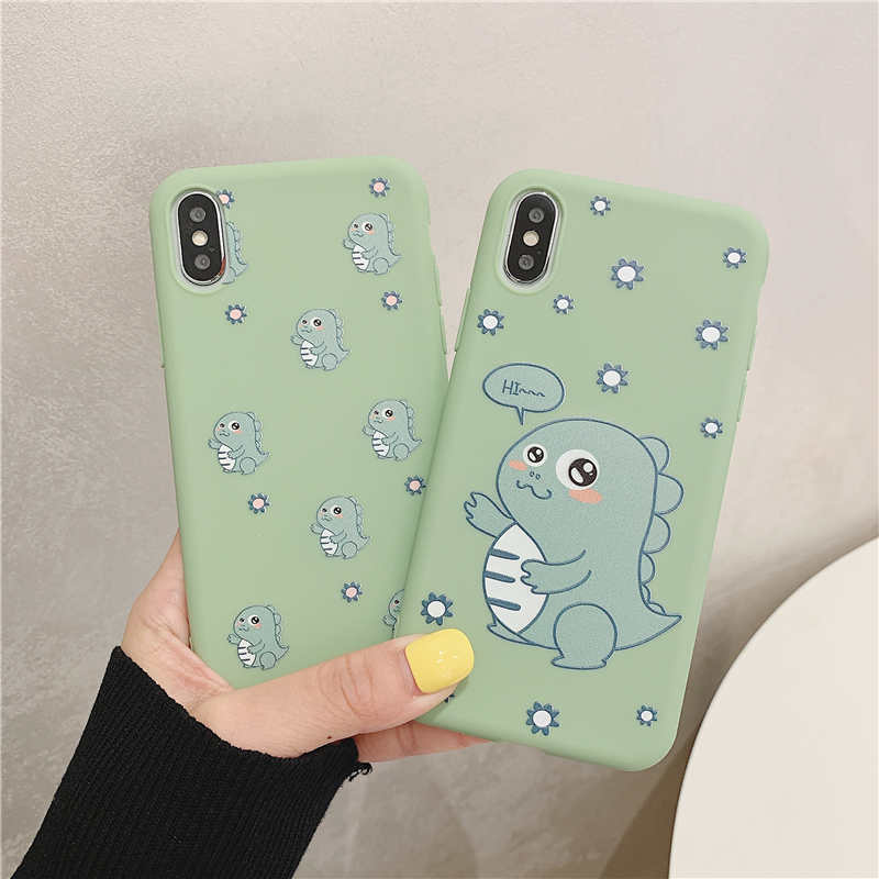Cute Cartoon Dinosaur Patterned Case for iPhone X XR Xs Max 8 7 6 6s Plus Matte Soft TPU Silicone Cover Cases Coque
