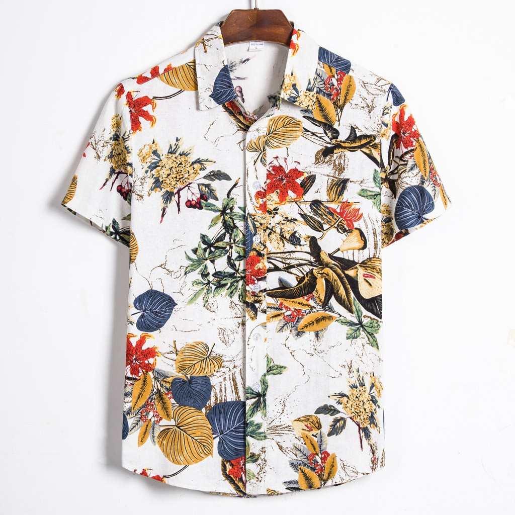 <font><b>Summer</b></font> Man <font><b>Shirt</b></font> <font><b>Mens</b></font> Ethnic Printed Stand Collar Cotton Linen Stripe Short Sleeve Loose Hawaiian Henley <font><b>Shirt</b></font> Hawaiian <font><b>Shirt</b></font> 2 image