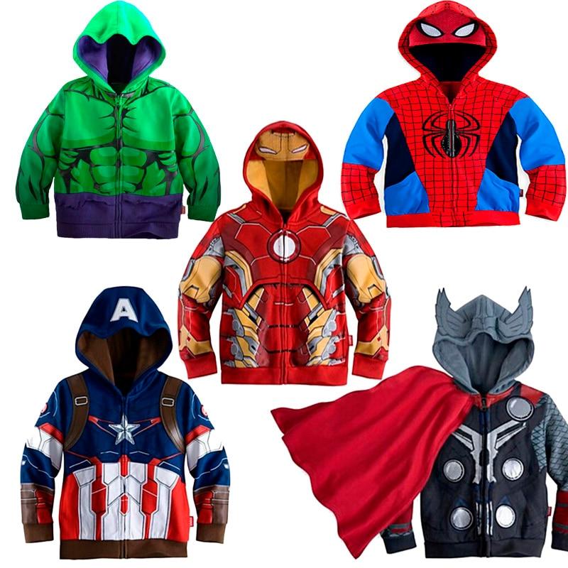 Marvel Sweatshirt Hulk Spider-Man Captain America Avengers Sweater Cartoon Top Zipper Hoodie Children's Clothes