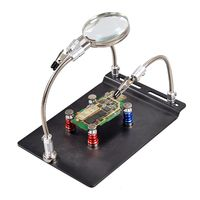 PCB Holder WorkBench Helping Hands Third Hand Magnetic Mount Arms with Magnifier Magnifiers     -