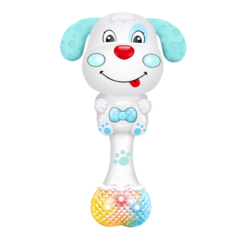 Cartoon Puppy Baby Rattle With Music Light Teether Toy Gift Attracts Baby's Attention To Molars
