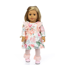 Fit 18 inch 43cm Doll Clothes Born Baby Broken Flower Ocean Flamingo Hair Belt Accessories For Birthday Gift