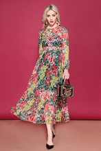 Baogarret Fashion Runway Elegant Long Dress Womens Sleeve Flower Floral Print Vacation Holidays Chiffon