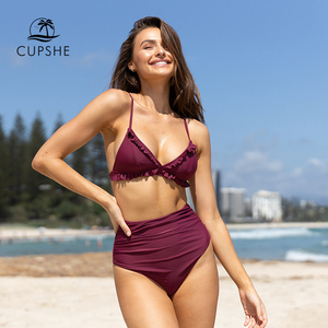 Image 2 - CUPSHE katı bordo Ruffled yüksek belli Bikini setleri seksi yastıklı mayo İki adet mayo kadınlar 2020 plaj mayo