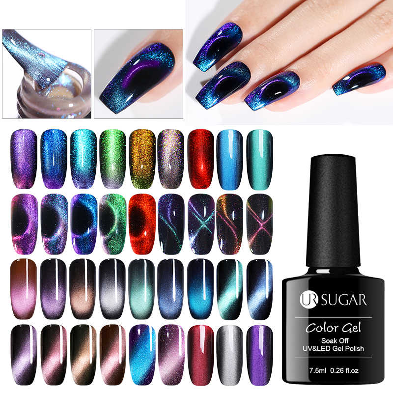 UR Gula 7.5 Ml 9D Chameleon Magnetic Gel Nail Polish Tahan Lama Bersinar Laser Mata Kucing Nail Art Gel Rendam off UV LED Gel Varnish