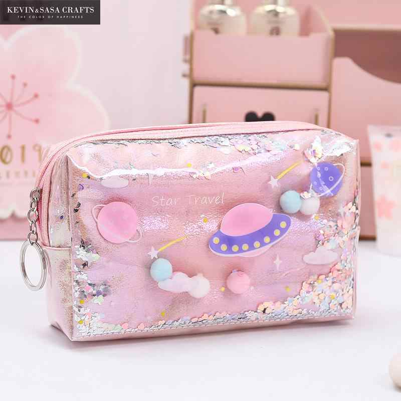 Ster Etui Glitter Grote Capaciteit Pencilcase School Pen Makeup Case Levert Potlood Schooltas Box Potlood Pouch Briefpapier