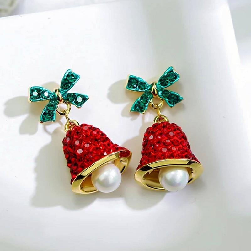 Рождественские подарки, серьги в виде колокольчика для девочек и женщин, зеленые и красные серьги в форме колокольчика, милые модные ювелир...