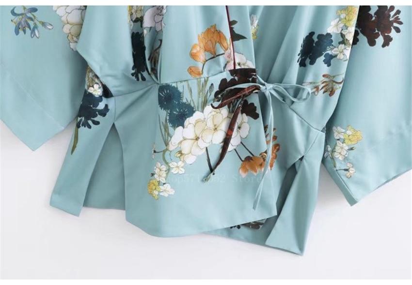 Quimono japonês tradicional feminino, cardigan floral, blusa