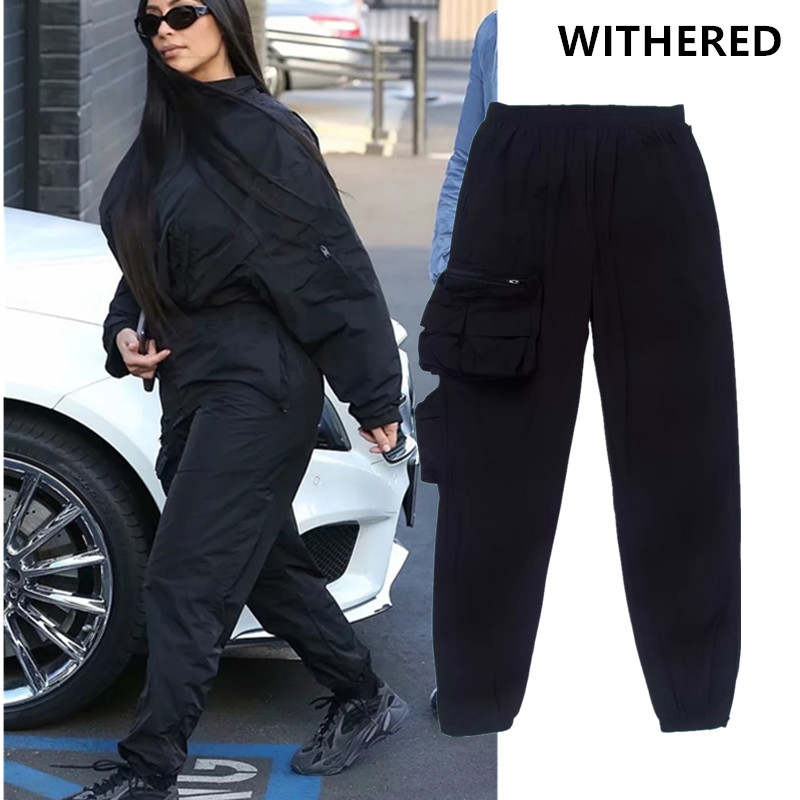 Withered  Ins Vintage Kardashian Same Design Big Pockets Zipper Cargo Pants Women Pantalones Mujer Pantalon Femme Trousers Women