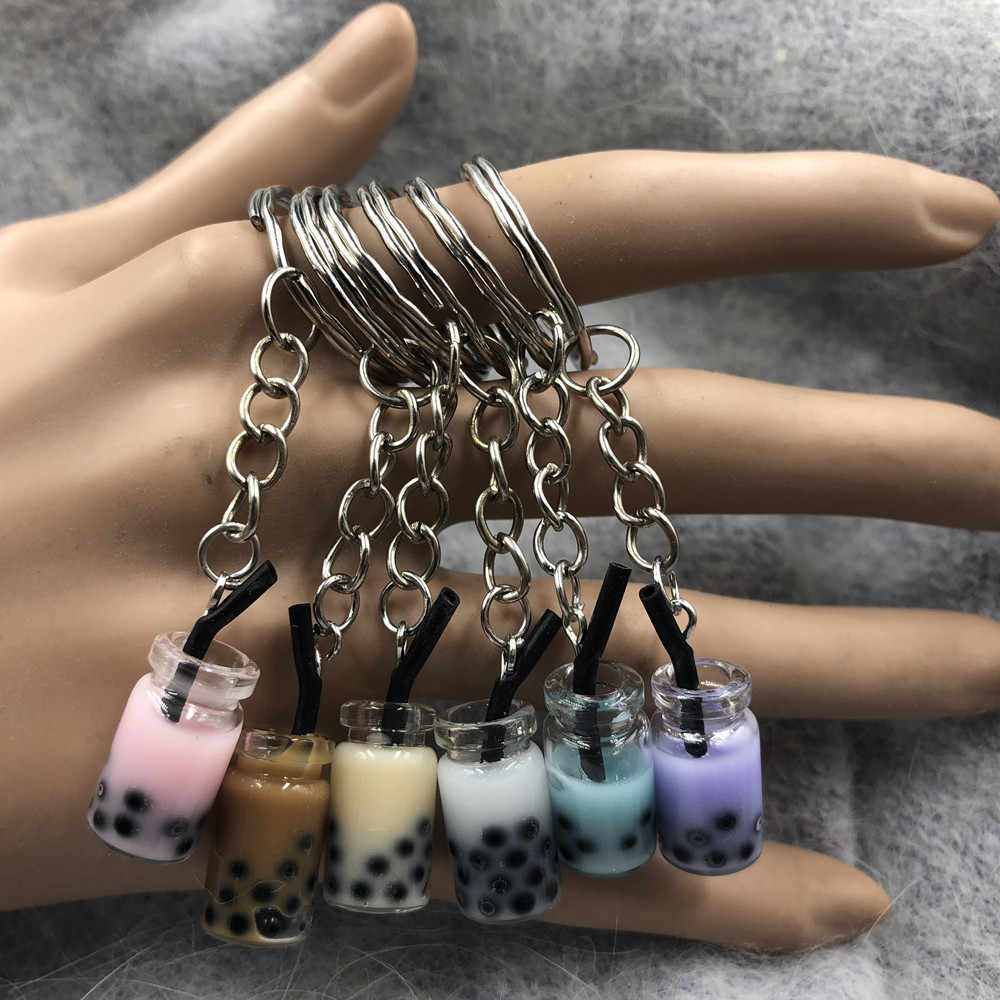 New Women/Men's Fashion Handmade Pearl milk tea coffee cup Key Chains Key Rings Alloy Charms Gifts  Wholesale