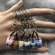 New Women/Men's Fashion Handmade Pearl milk tea coffee cup Key Chains Key Rings Alloy Charms Gifts Wholesale(China)