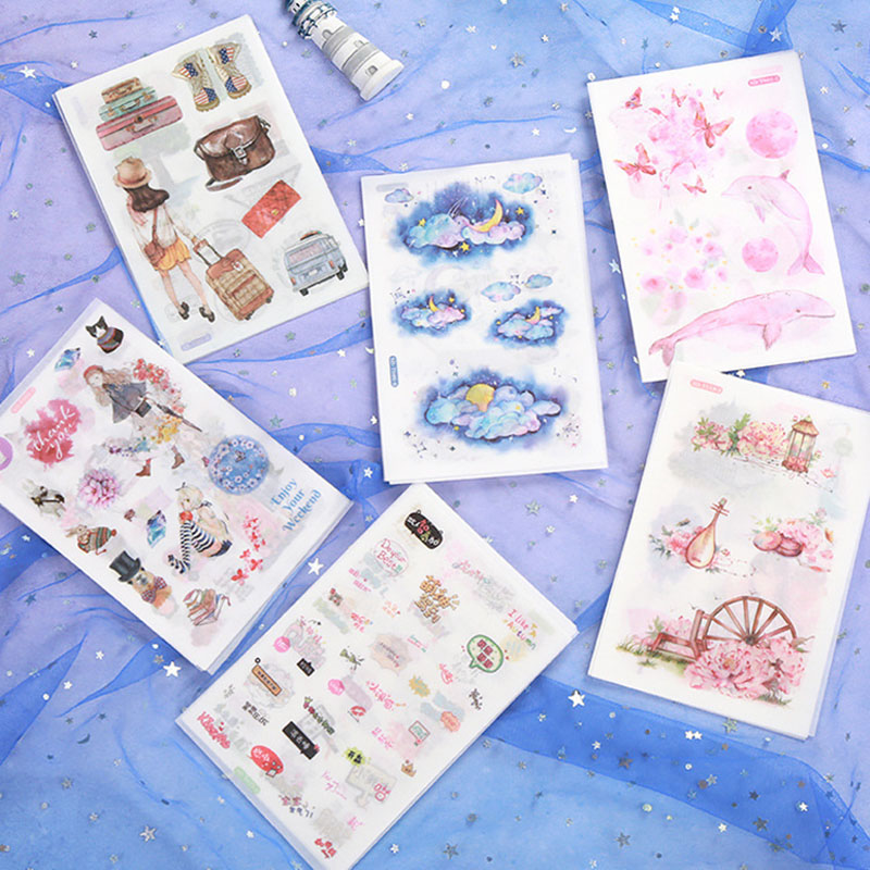 6 Sheets Kawaii Whale Stationery Sticker Cute Fruit Sticker Decorative Adhesive Sticker For DIY Diary Scrapbooking Albums